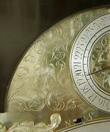 J Mitchell Penny Moon Bracket Clock, (Circa 1715) Engraving to Arch.