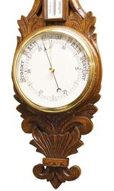 Oak Carved Barometer, Dial & Carving.