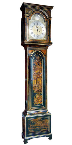 Green Ground, Longcase Lacquer Clock by Walter Mitchell, Plymouth, (Circa 1740)