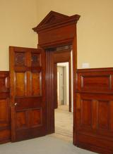 One of five Mahogany internal doors, with architectural head.