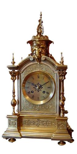 Mantle Clock Chollet of Paris, Brass French Ormolu (Circa 1880)